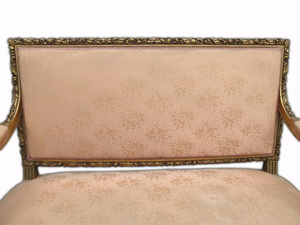 Antique French Louis XVI gilt walnut sofa - 2