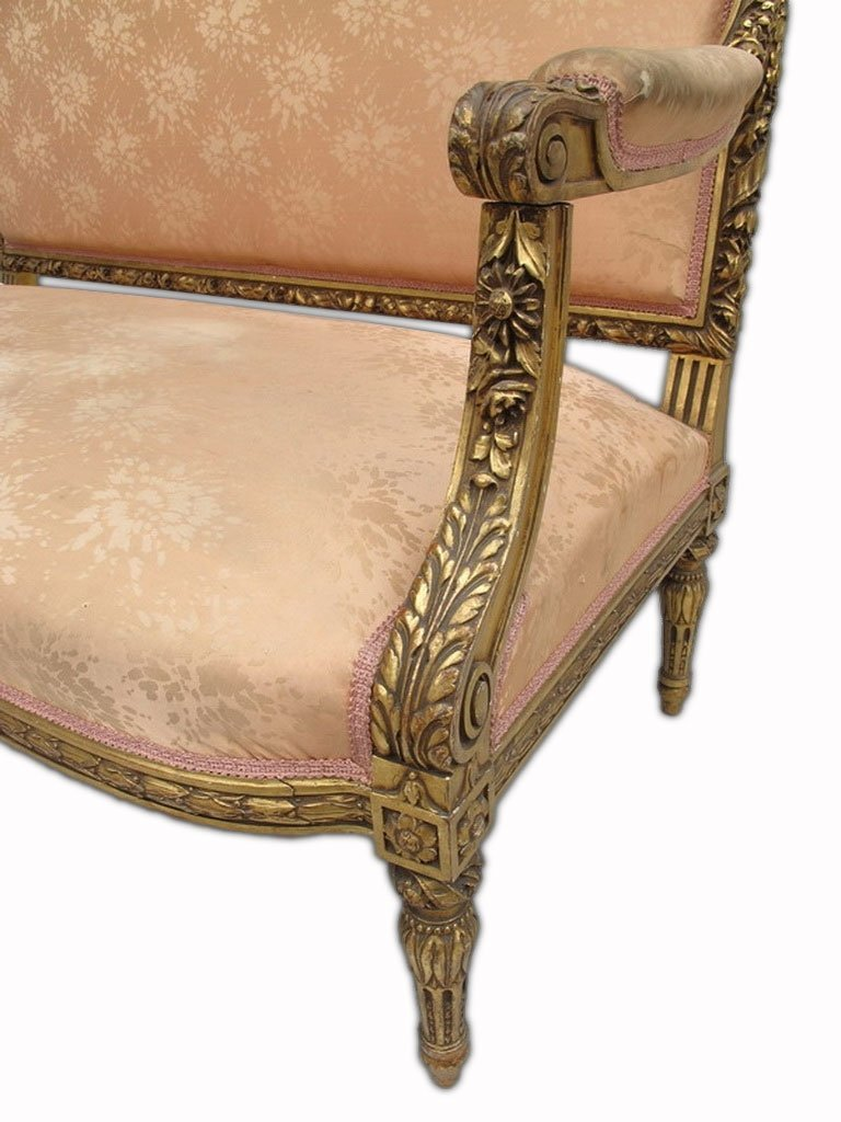 Antique French Louis XVI gilt walnut sofa - 4