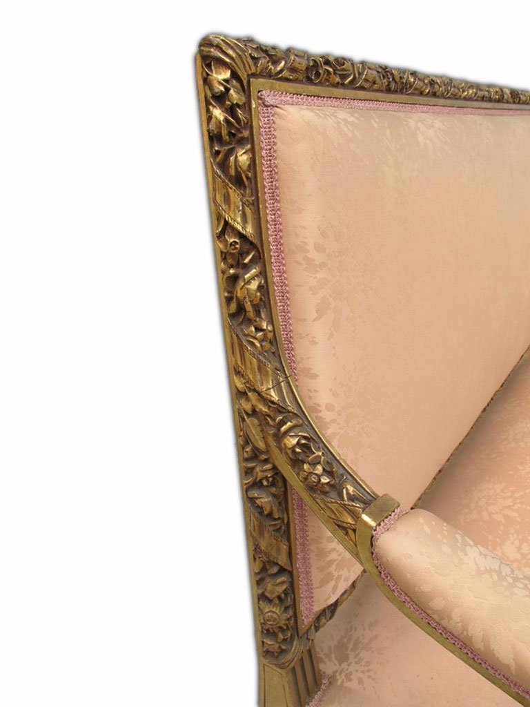 Antique French Louis XVI gilt walnut sofa - 6