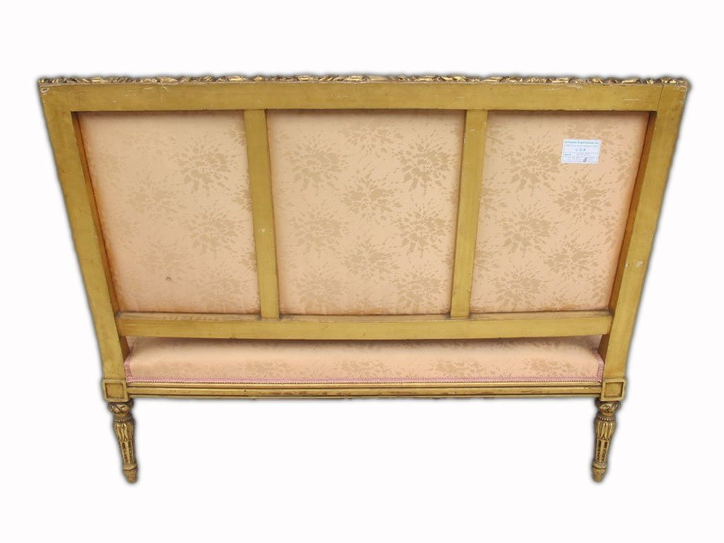 Antique French Louis XVI gilt walnut sofa - 7