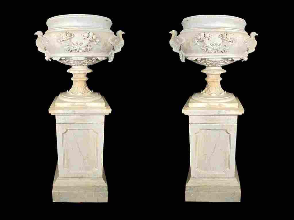 Amazing 19th C huge pair of carrara marble urns
