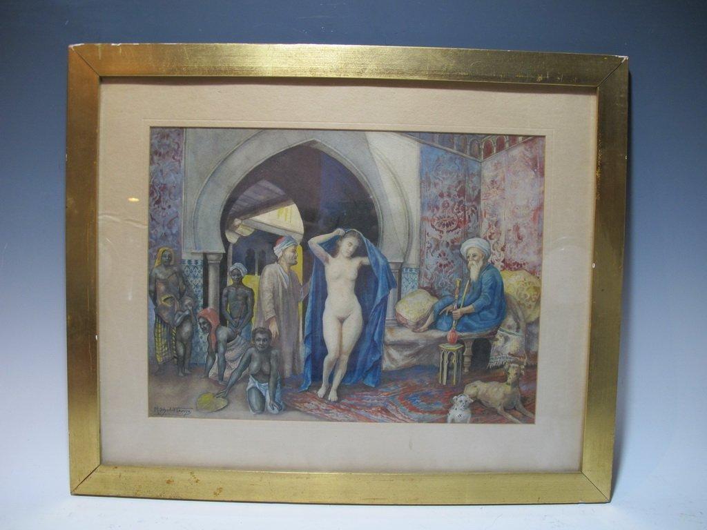 Antique Orientalist watercolor, M. Delgado VILLALONGO