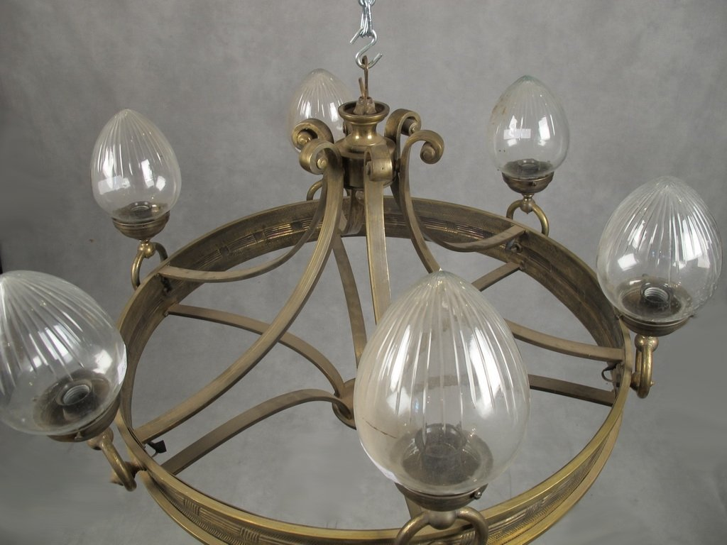 Antique French bronze & glass chandelier - 2