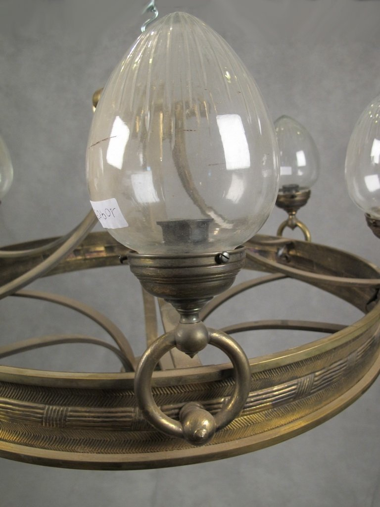Antique French bronze & glass chandelier - 4