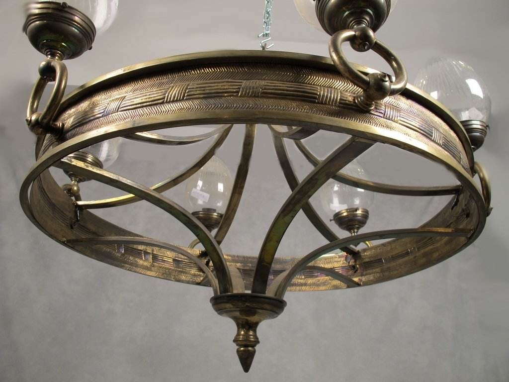 Antique French bronze & glass chandelier - 5