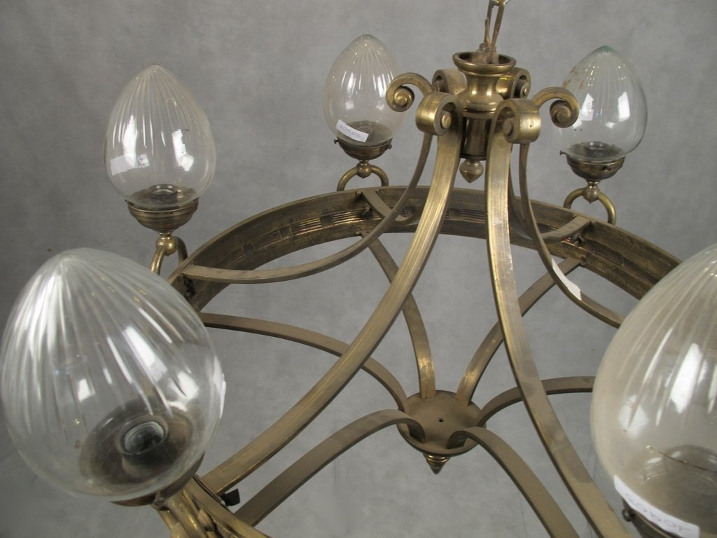 Antique French bronze & glass chandelier - 6