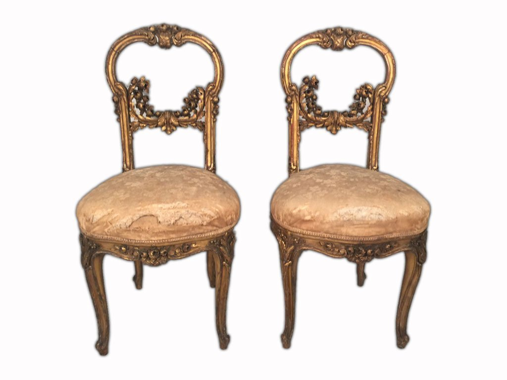 Pair of French Louis XV Gilt Chairs