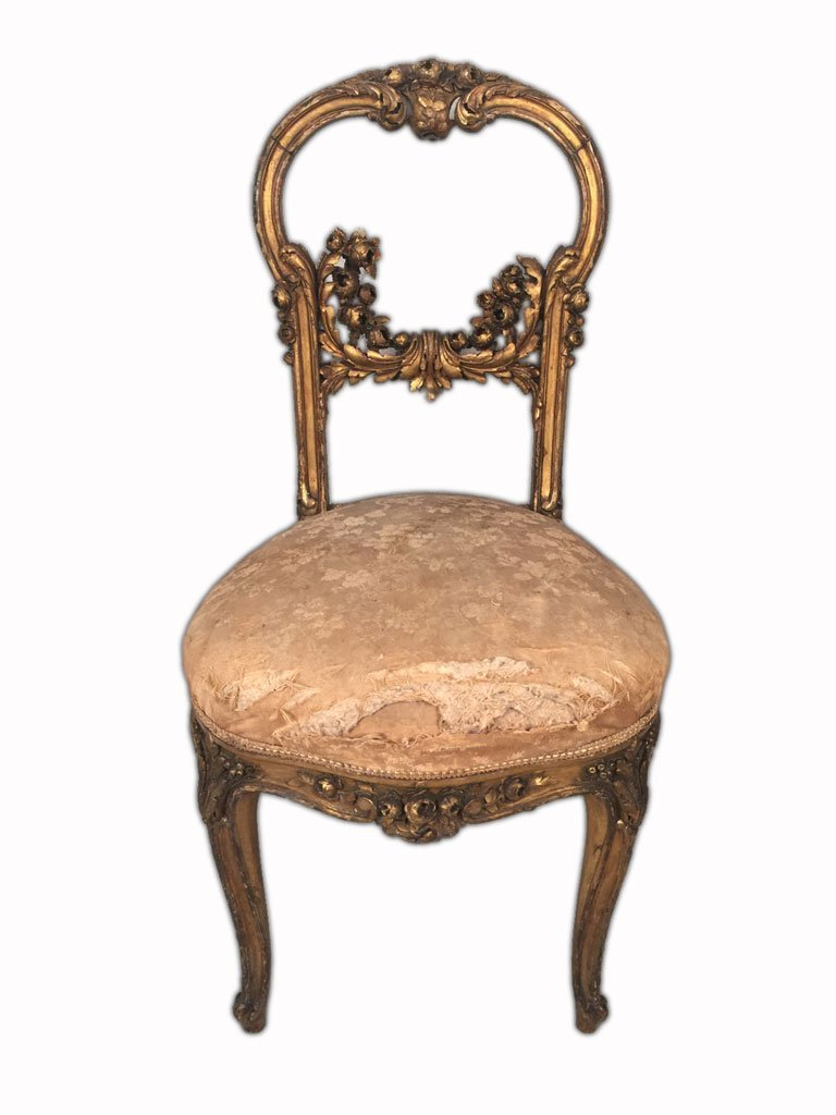 Pair of French Louis XV Gilt Chairs - 2