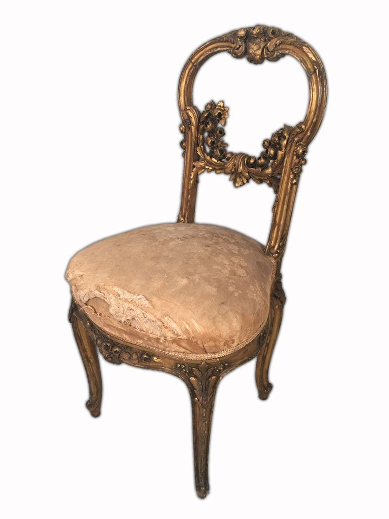 Pair of French Louis XV Gilt Chairs - 4