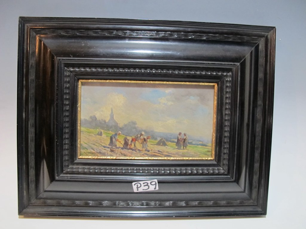 Late 19th C European oil on board painting