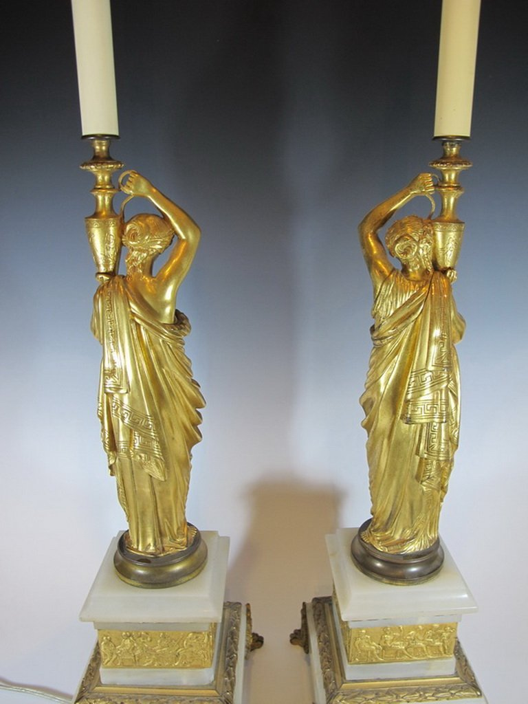 Antique French pair of bronze & marble lamps - 10