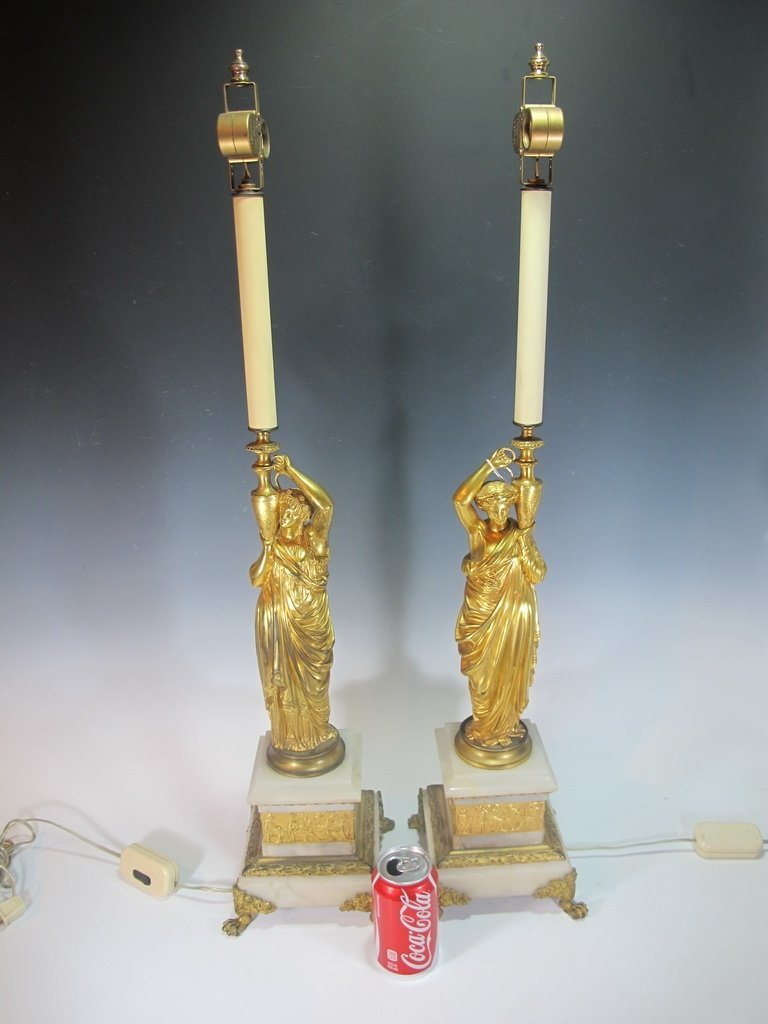Antique French pair of bronze & marble lamps