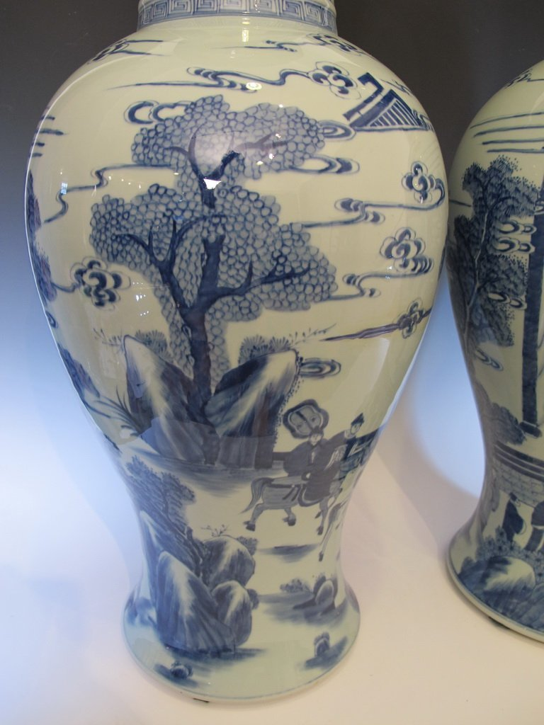 Huge Antique  pair of Chinese porcelain vases M137 - 4