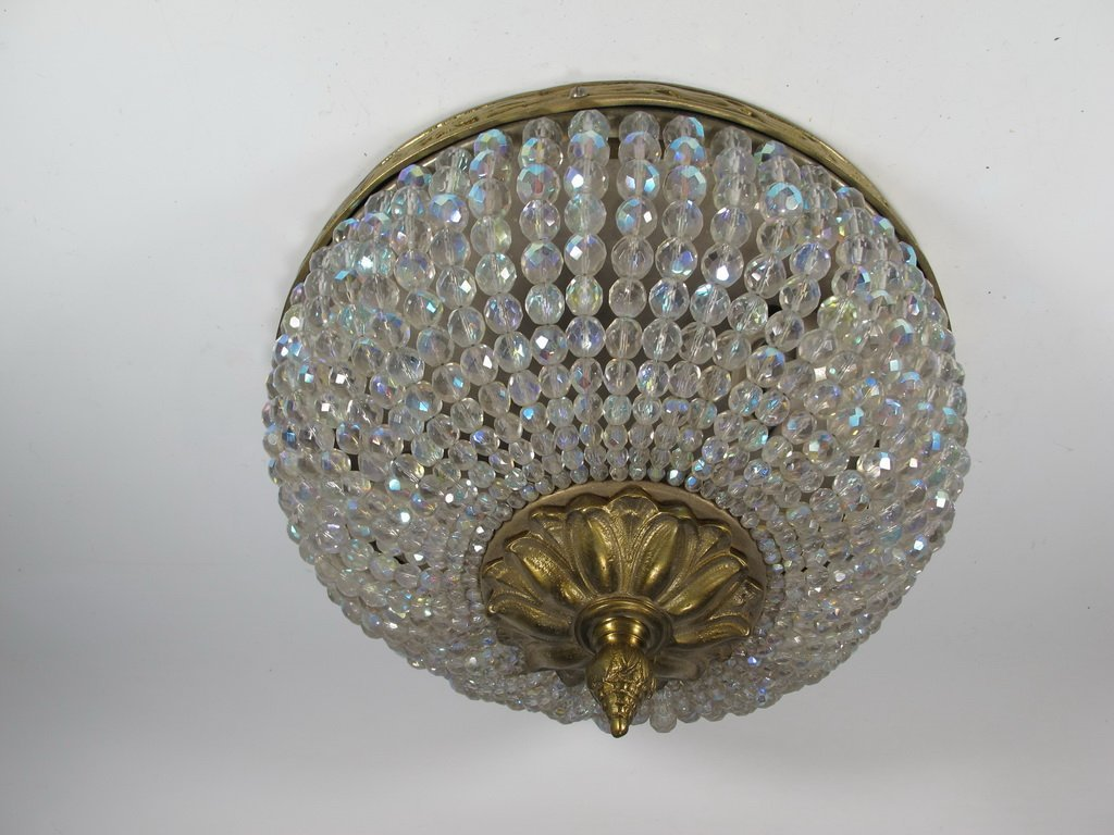 Antique French bronze & iridescent glass ceiling light