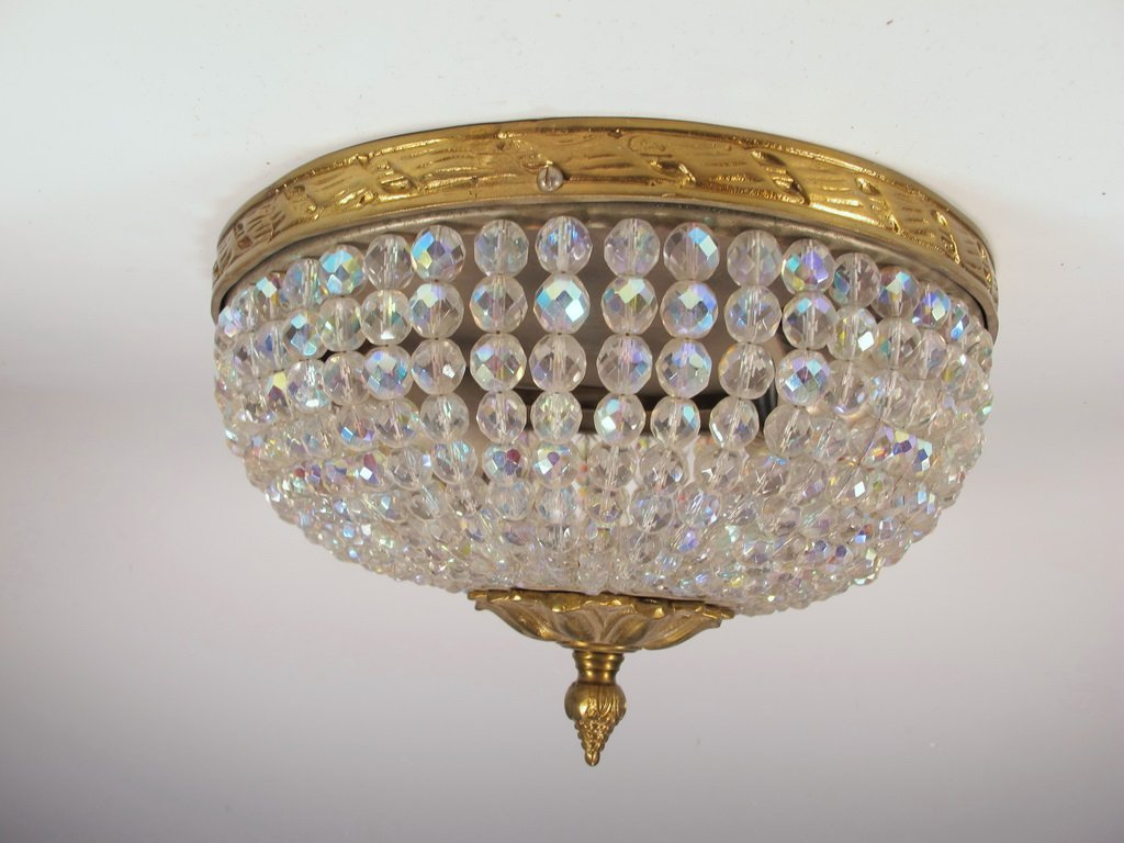 Antique French bronze & iridescent glass ceiling light - 2
