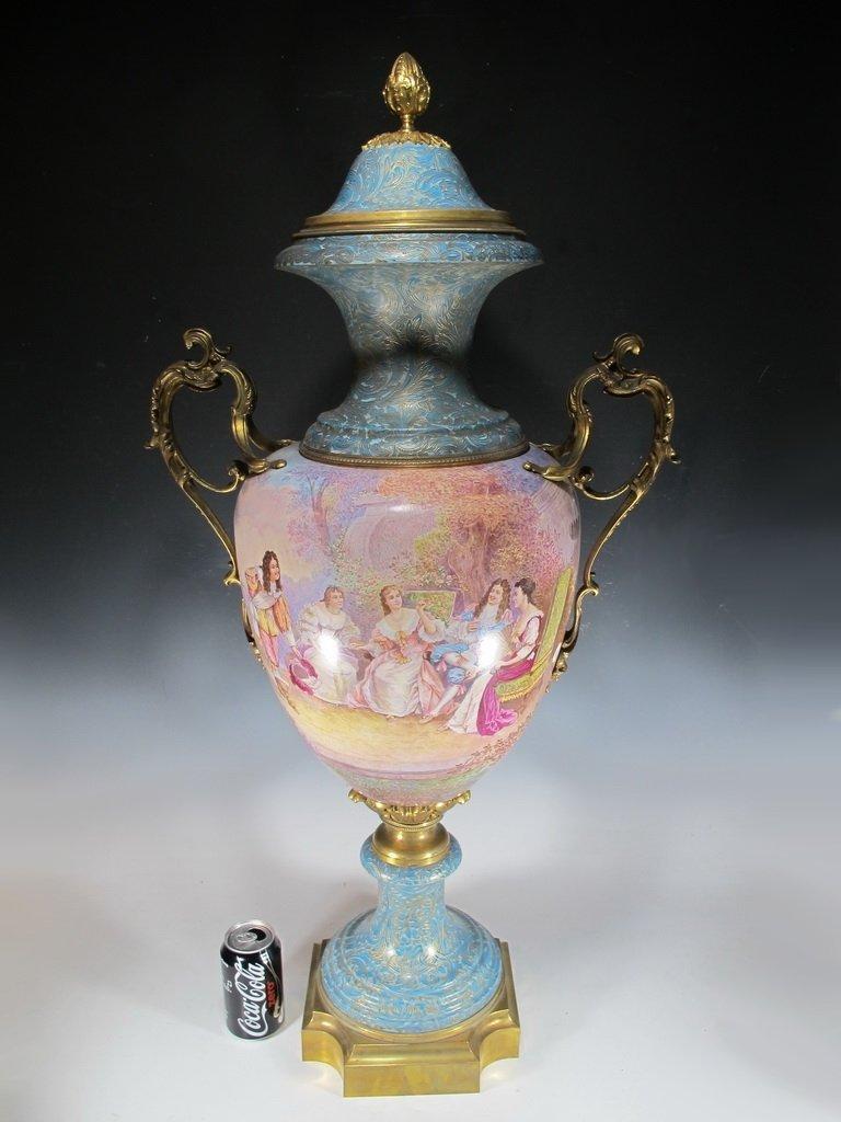 Huge antique French Sevres porcelain & bronze urn