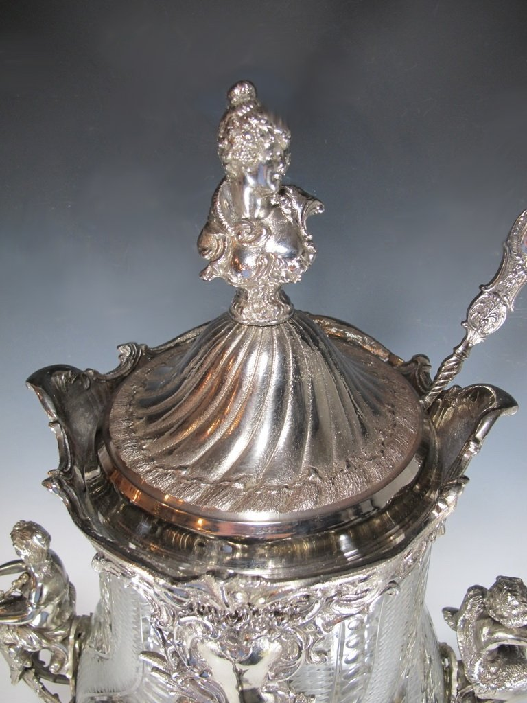 Huge bronze silverplated & glass punch bowl - 2