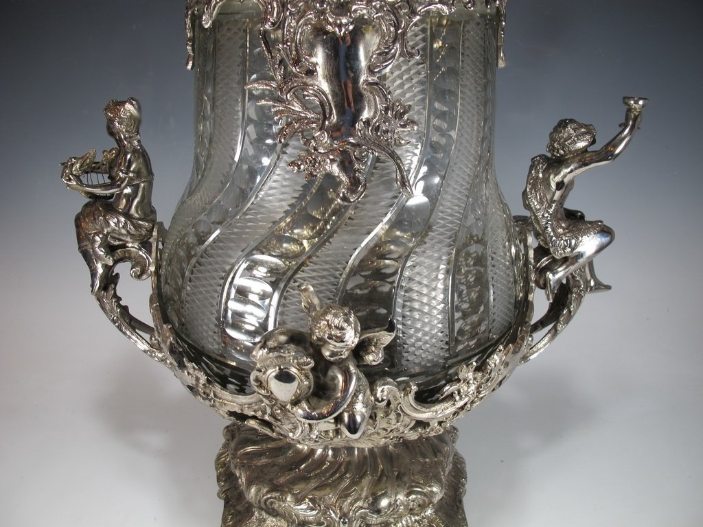 Huge bronze silverplated & glass punch bowl - 3