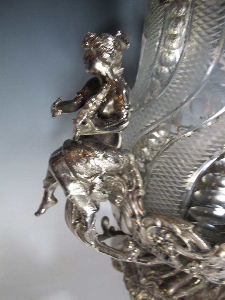Huge bronze silverplated & glass punch bowl - 6