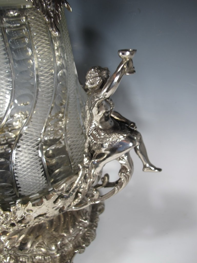 Huge bronze silverplated & glass punch bowl - 7