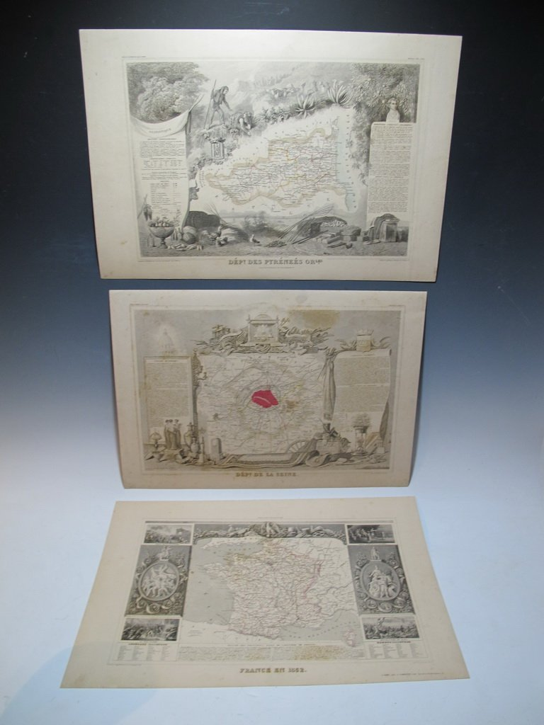 19th C French set of 3 engraving maps