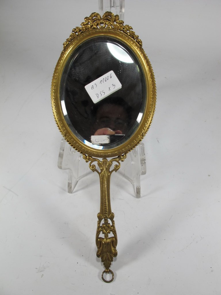 Antique French bronze & enamel handle mirror - 7