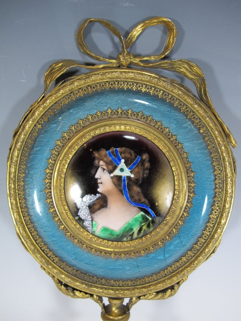 Antique French bronze & enamel handle mirror - 2