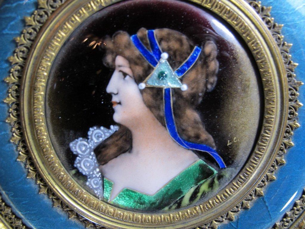 Antique French bronze & enamel handle mirror - 3