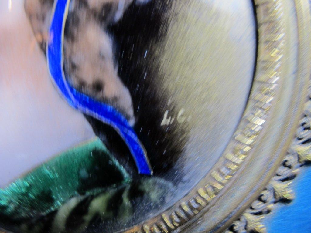 Antique French bronze & enamel handle mirror - 4