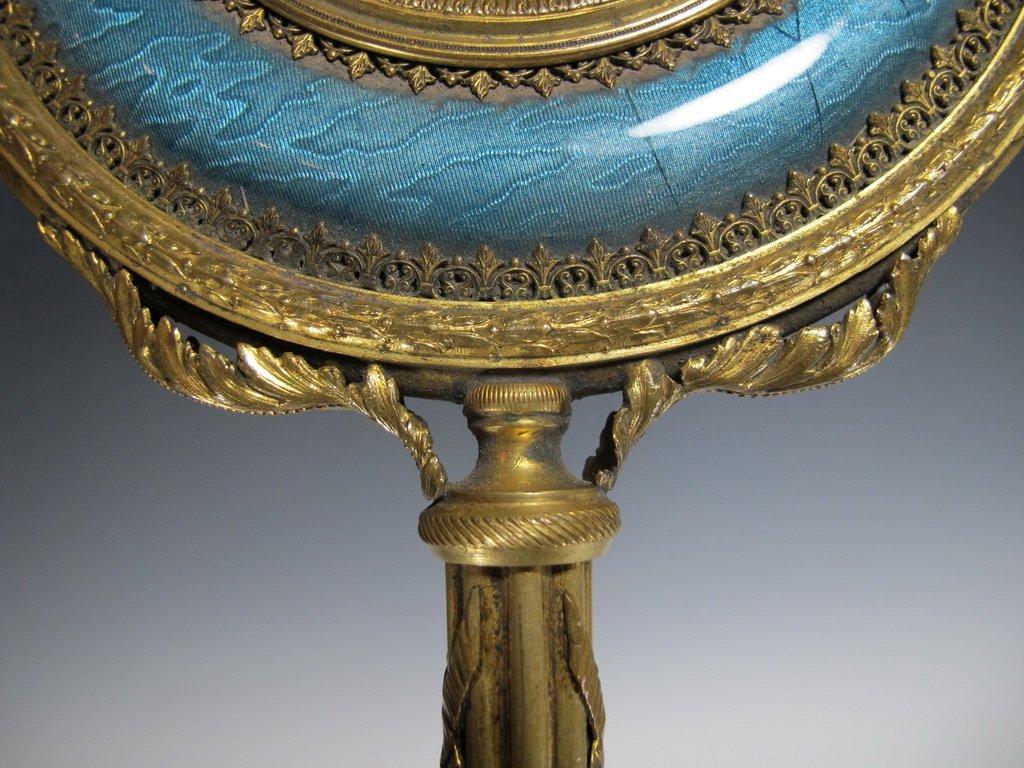 Antique French bronze & enamel handle mirror - 5