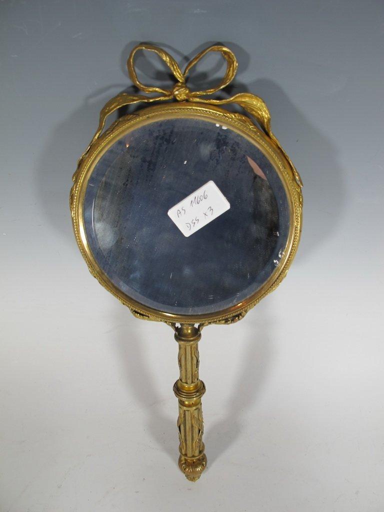 Antique French bronze & enamel handle mirror - 7