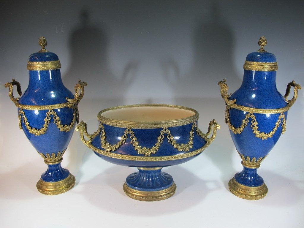 Paul Milet Sevres gilt bronze & porcelain garniture