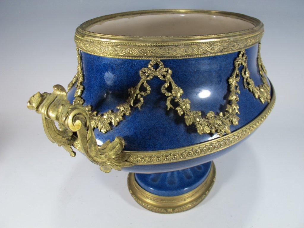 Paul Milet Sevres gilt bronze & porcelain garniture - 3