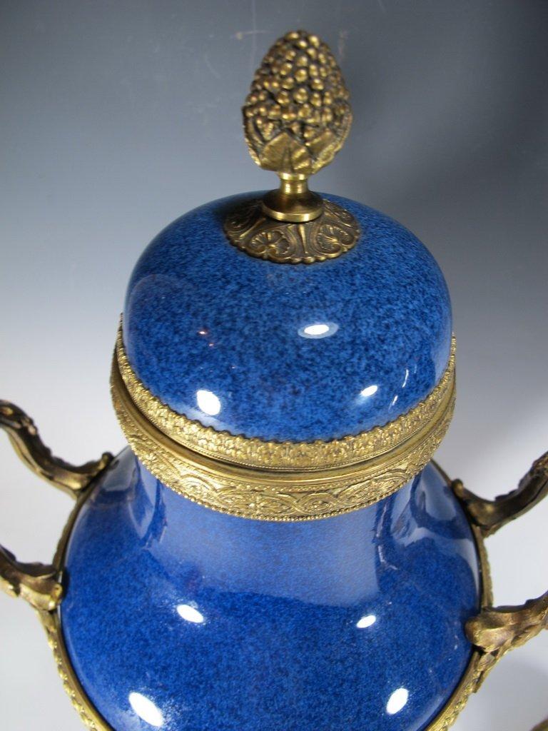 Paul Milet Sevres gilt bronze & porcelain garniture - 6