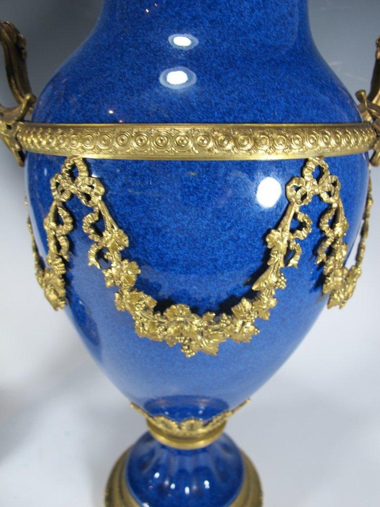 Paul Milet Sevres gilt bronze & porcelain garniture - 7