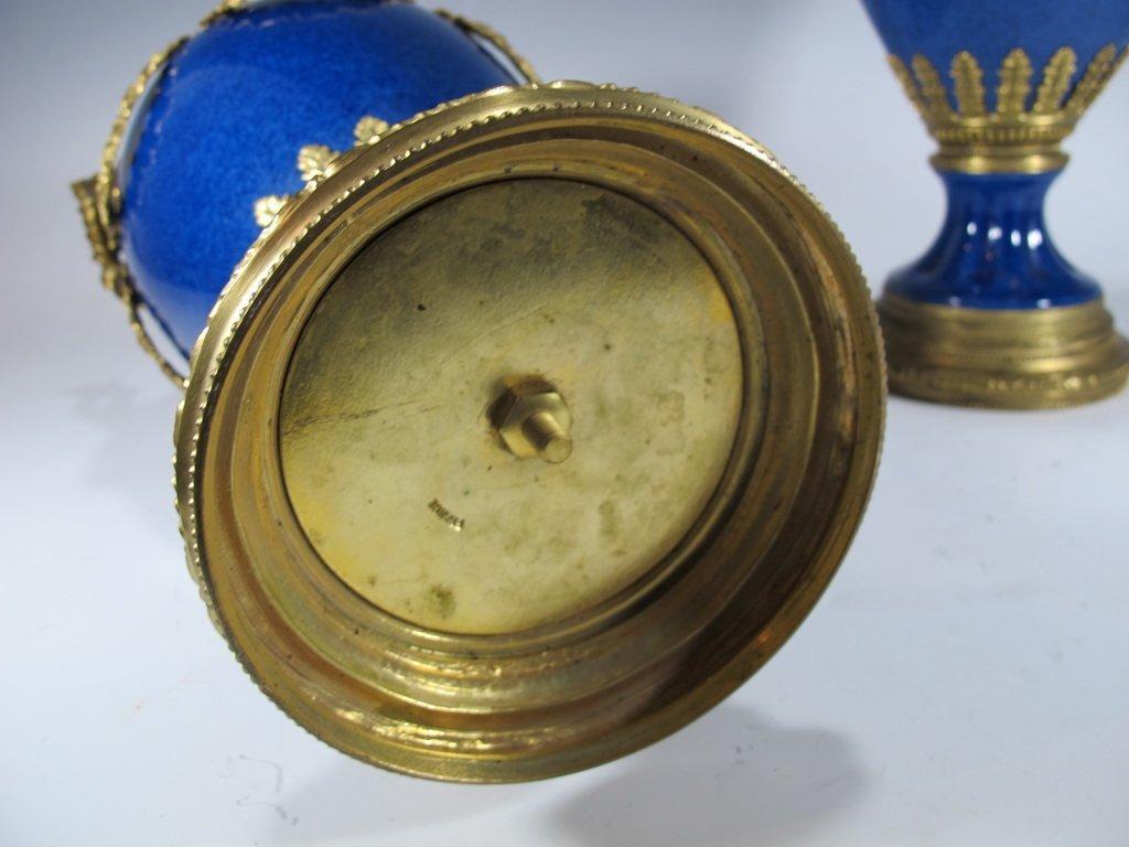 Paul Milet Sevres gilt bronze & porcelain garniture - 9