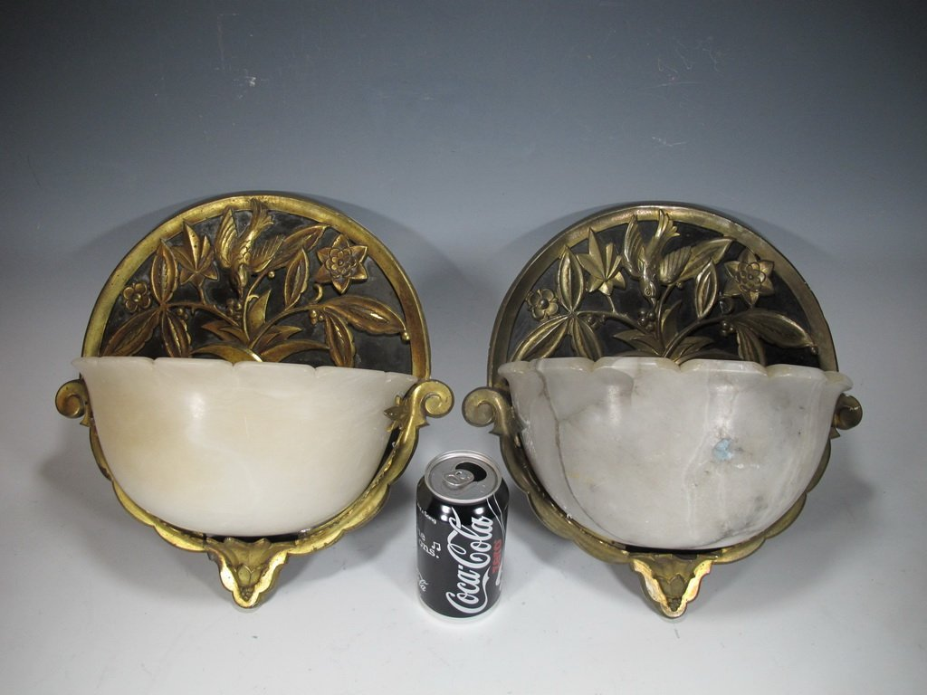 Antique French pair of bronze & alabaster sconces
