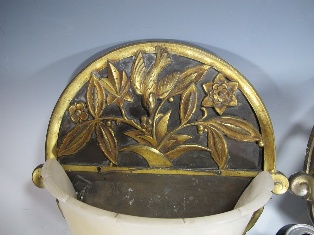 Antique French pair of bronze & alabaster sconces - 2