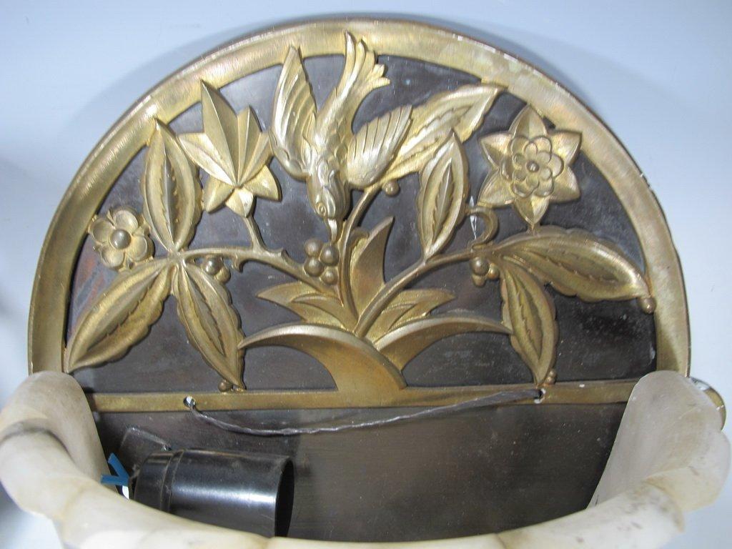 Antique French pair of bronze & alabaster sconces - 3