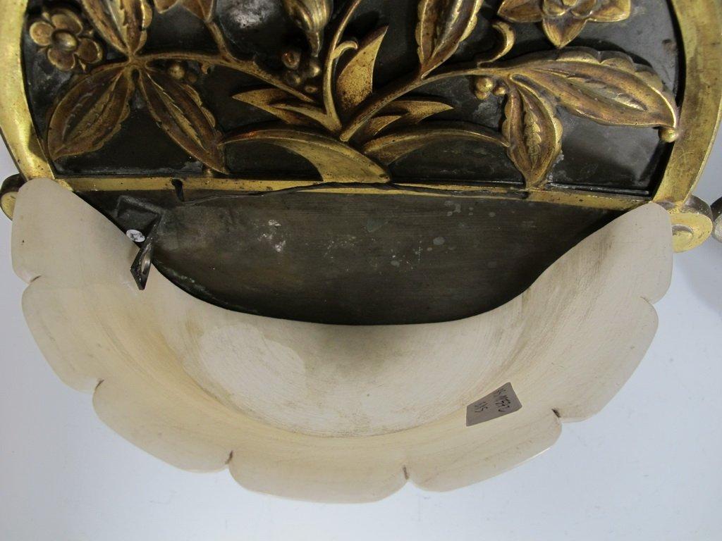 Antique French pair of bronze & alabaster sconces - 6