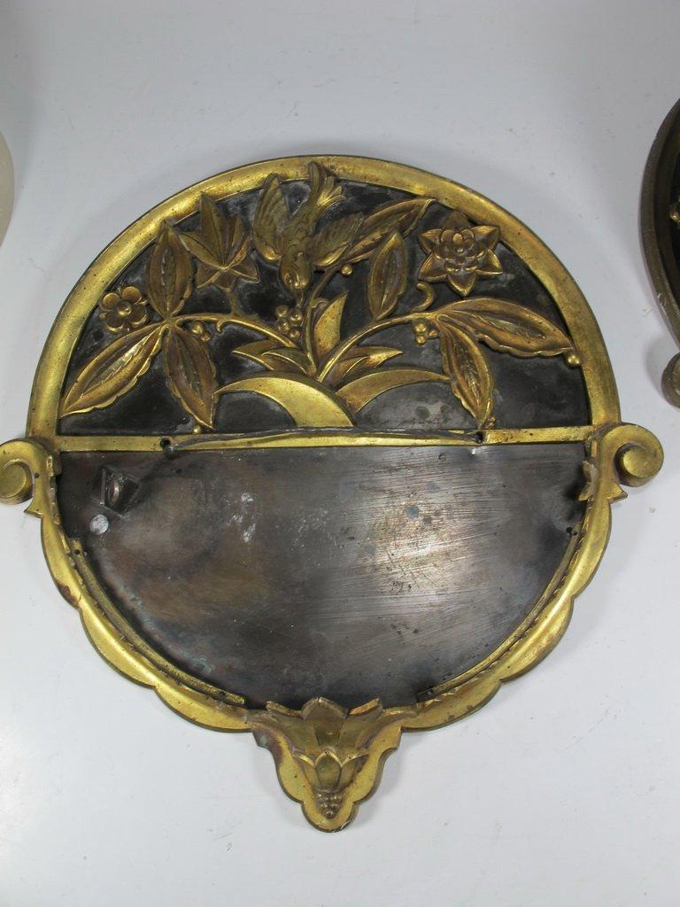 Antique French pair of bronze & alabaster sconces - 8