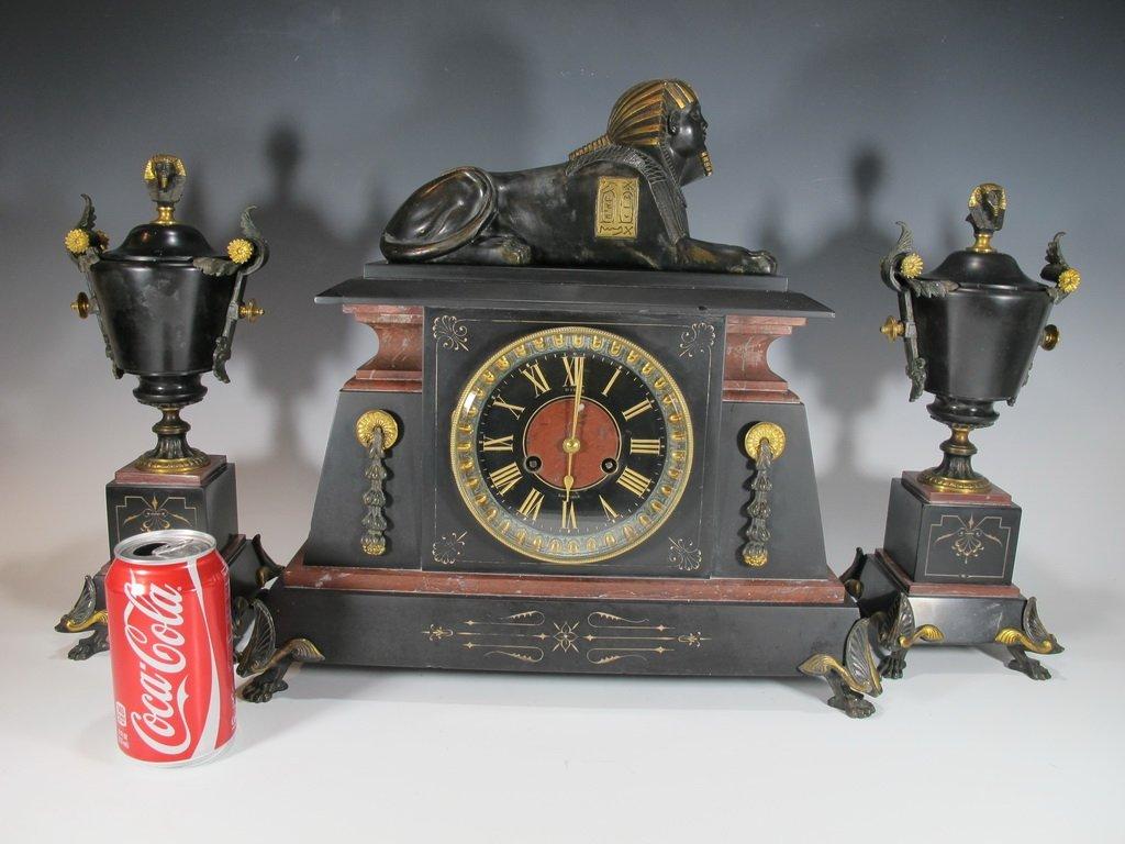 Antique French bronze & marble Orientalist clock set