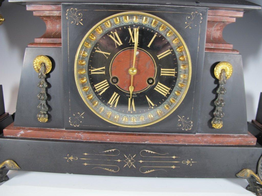 Antique French bronze & marble Orientalist clock set - 2