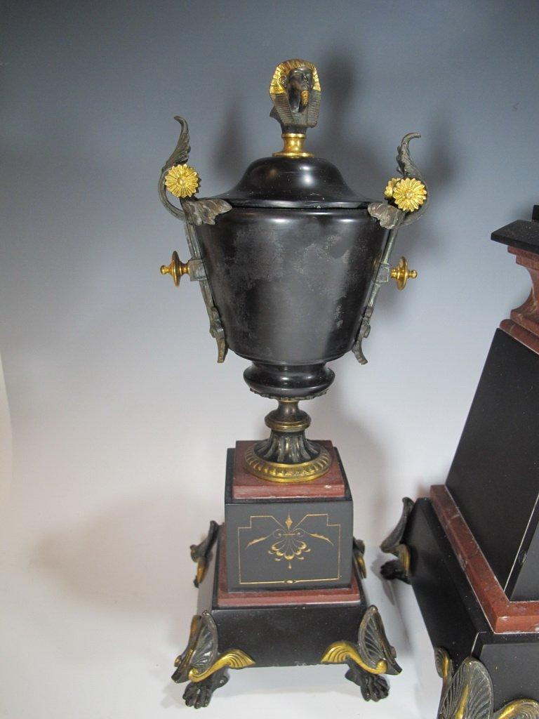 Antique French bronze & marble Orientalist clock set - 4