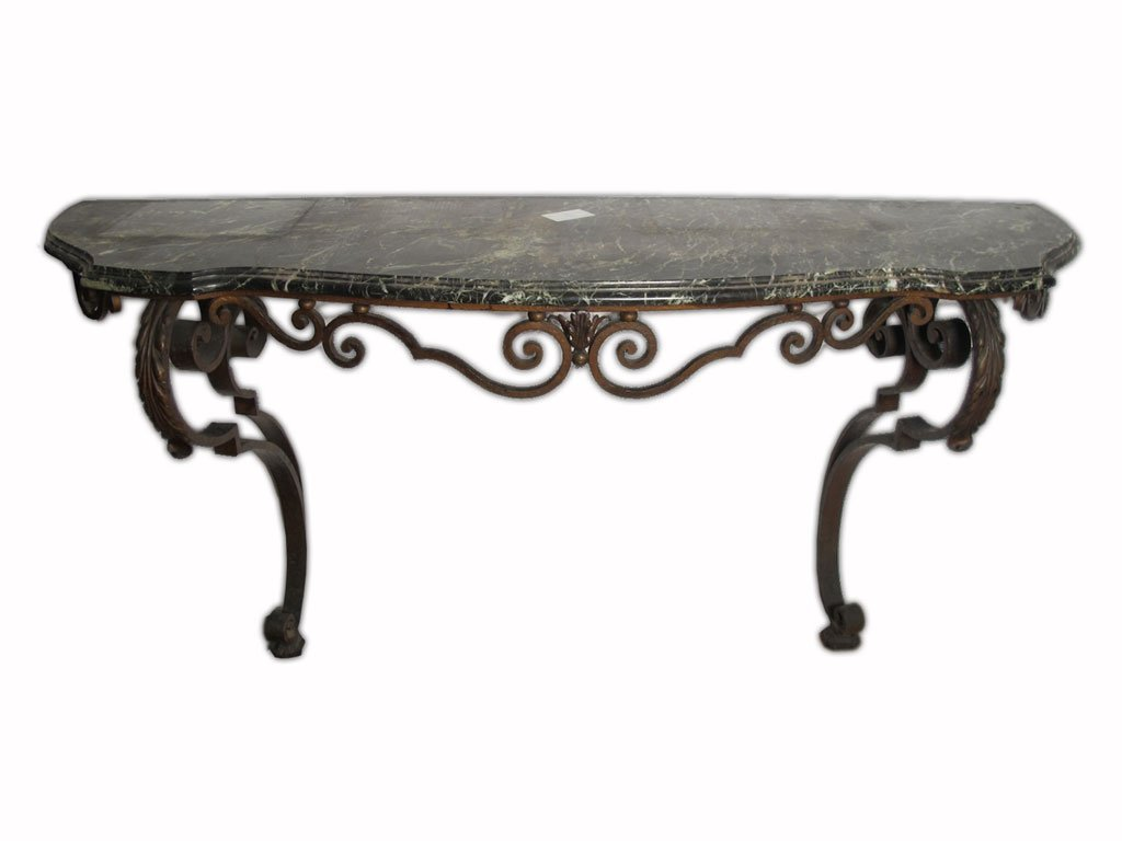Huge antique French iron & marble console table