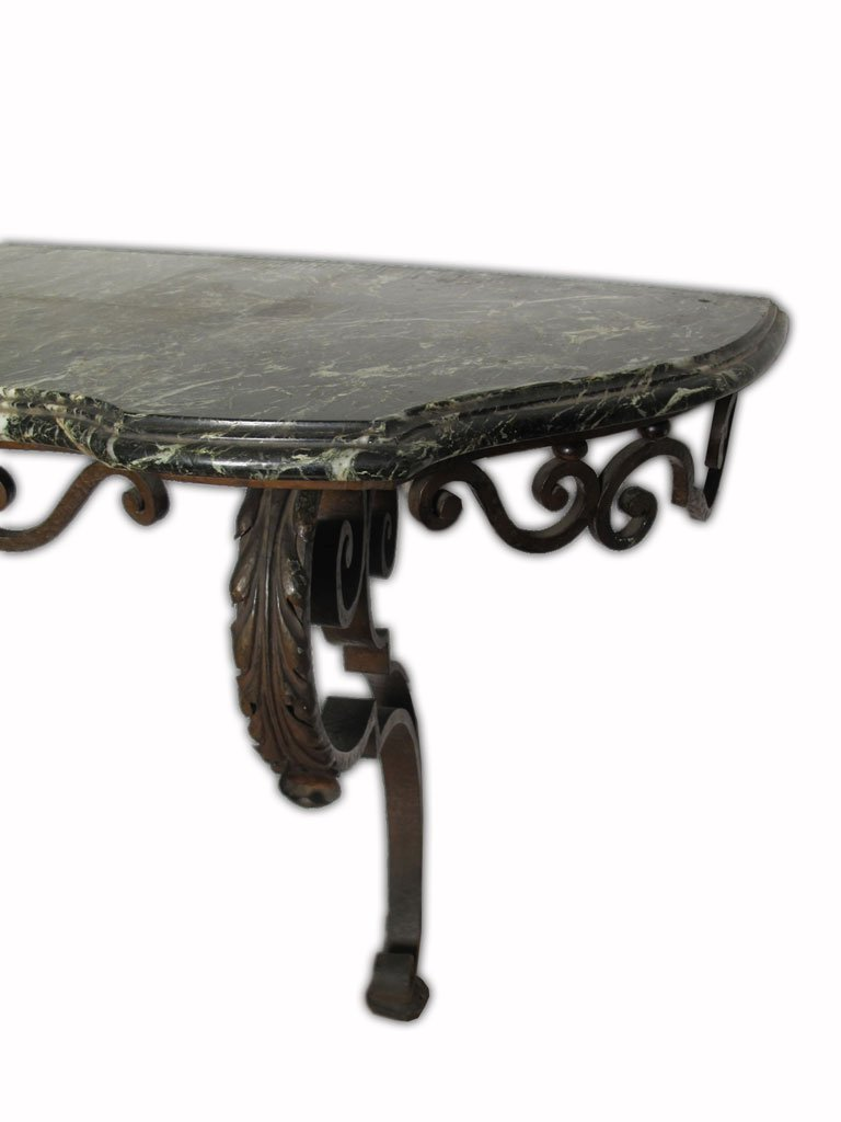Huge antique French iron & marble console table - 3