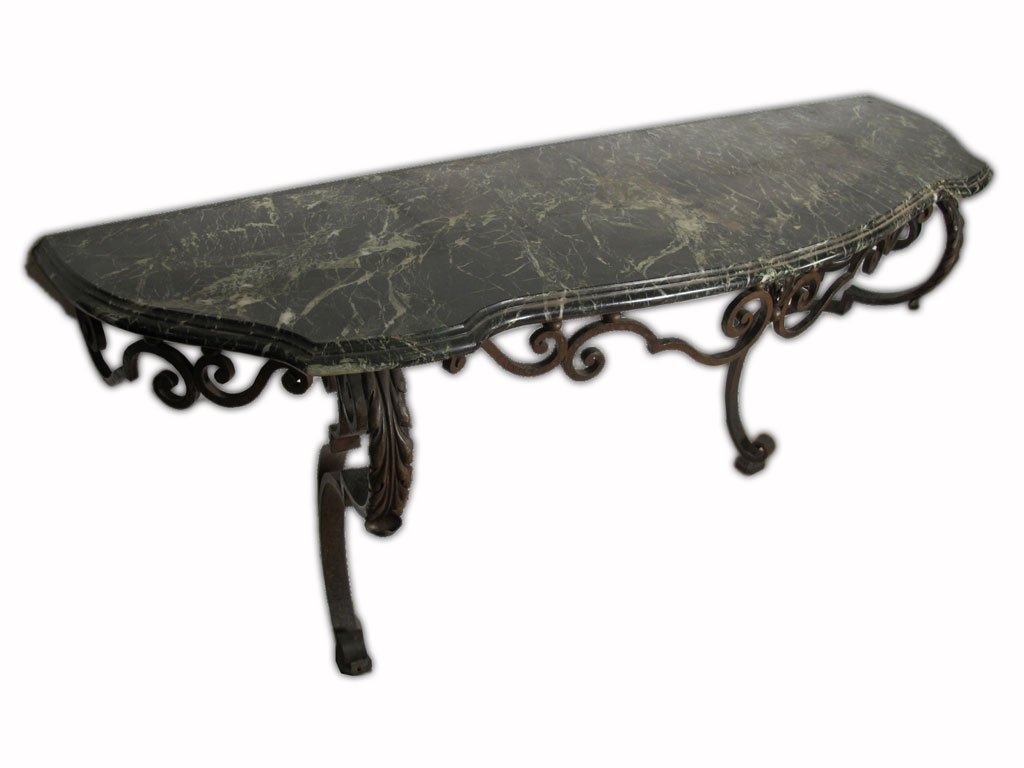 Huge antique French iron & marble console table - 5