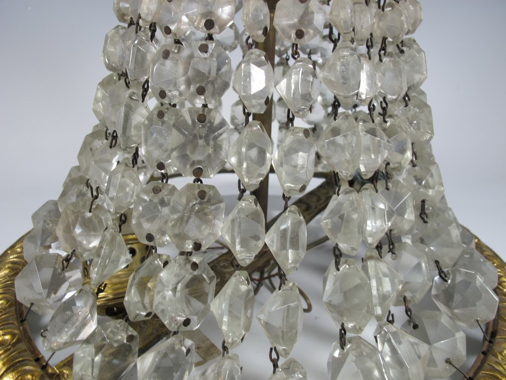 Antique French bronze & glass ceiling light - 2
