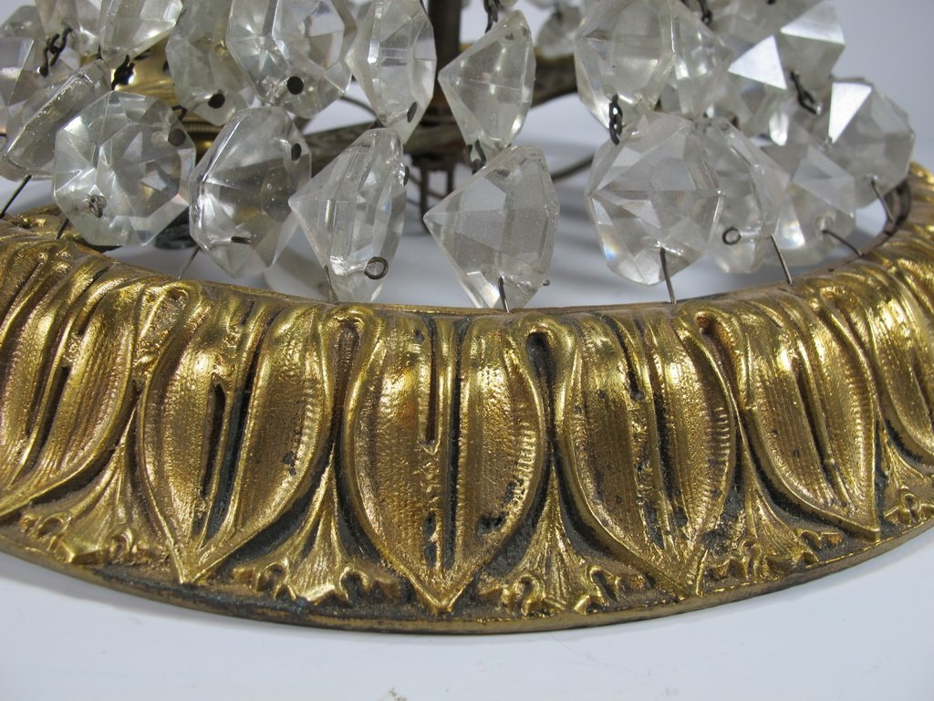 Antique French bronze & glass ceiling light - 4
