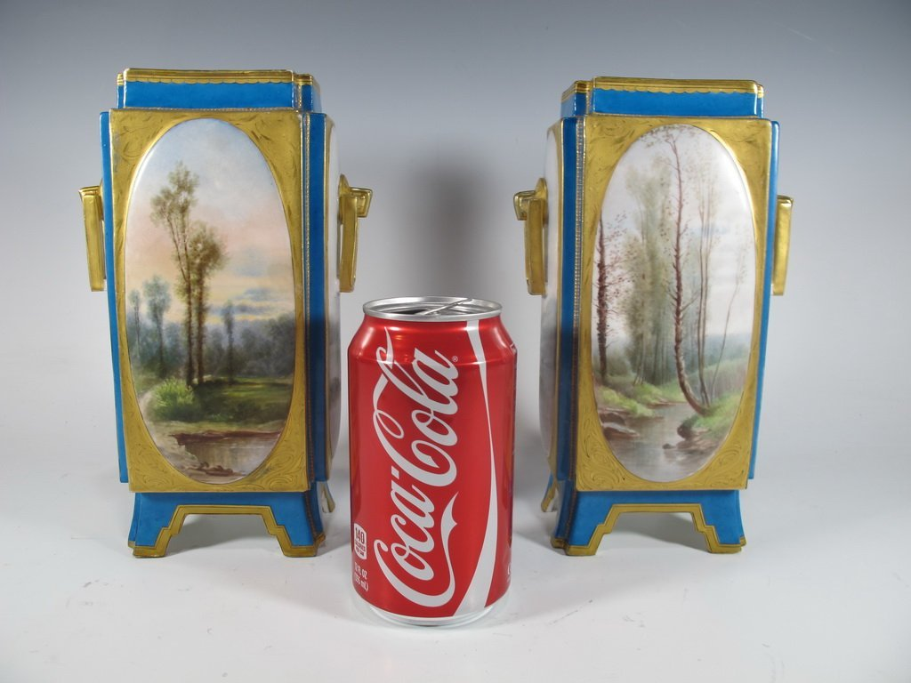 Antique Sevres quality pair of French porcelain vases